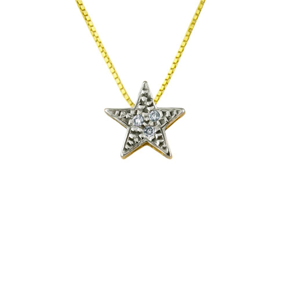 9032222855f3b Gargantilha em Ouro 18k Estrela Ponto de Luz com Diamantes - joiasgold