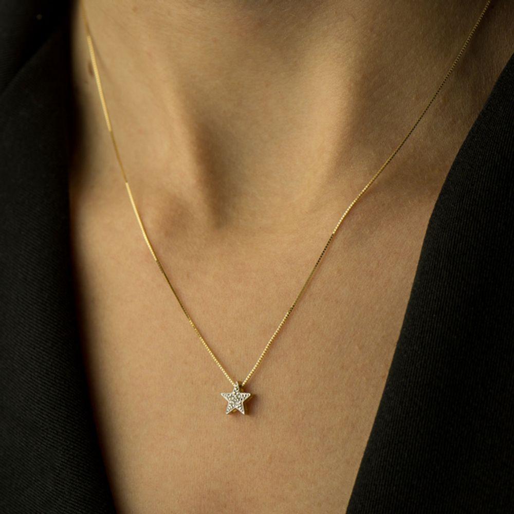 c2081deada424 Gargantilha em Ouro 18k Estrela Ponto de Luz com Diamantes - joiasgold