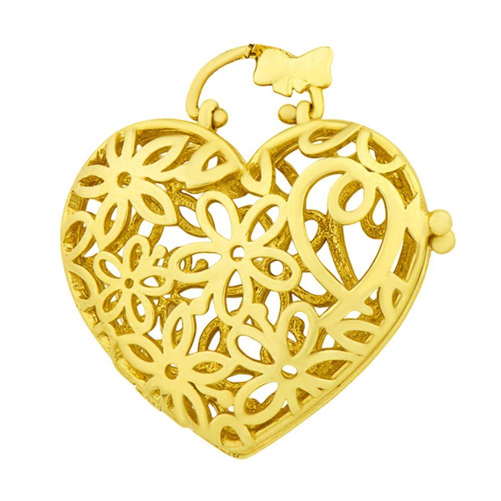 Pingente em Ouro 18k Relicário Formato de Coração Vazado - joiasgold d8d04a614e