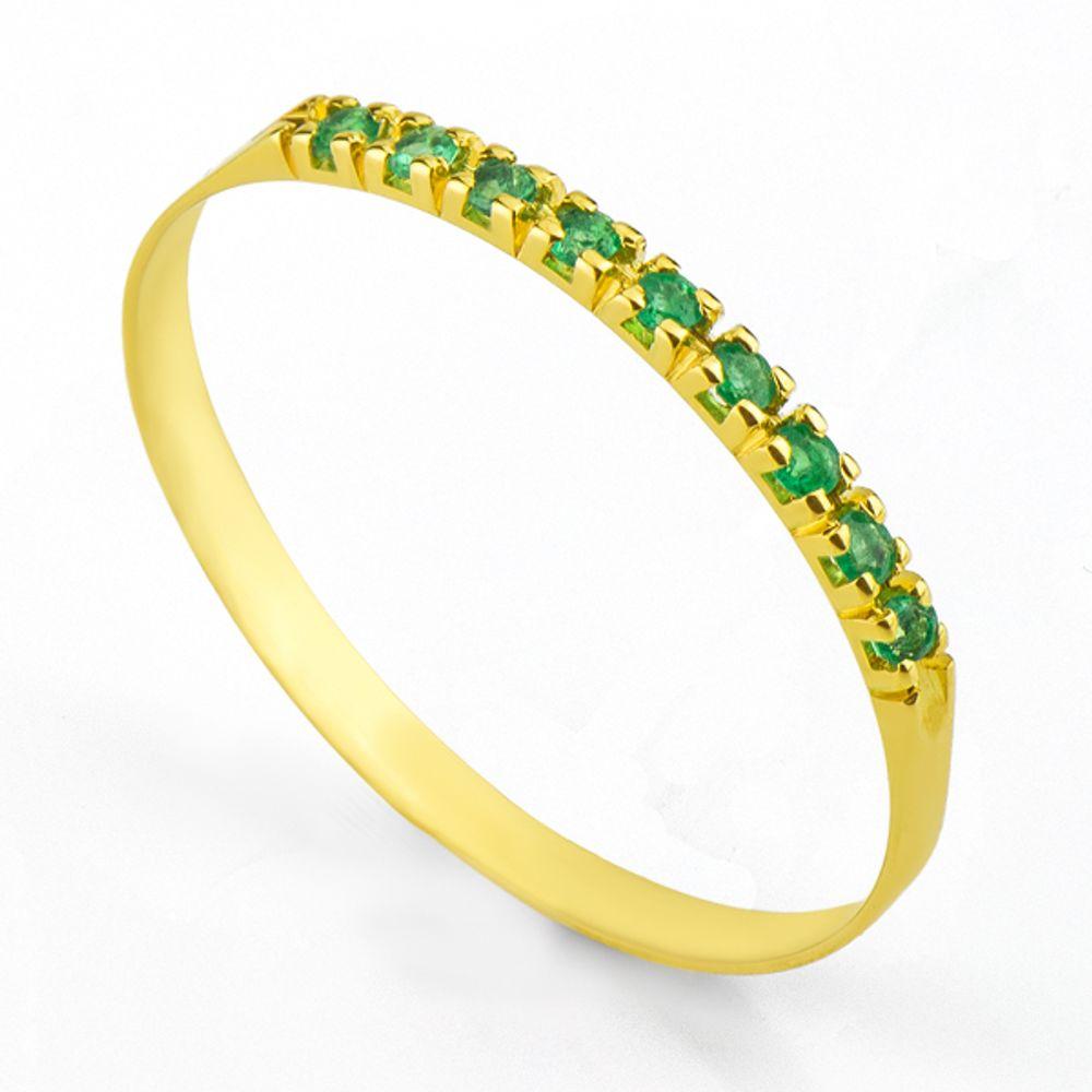 Anel em Ouro 18k Meia Aliança com 9 Esmeralda de 1 ponto - joiasgold ed64241b29