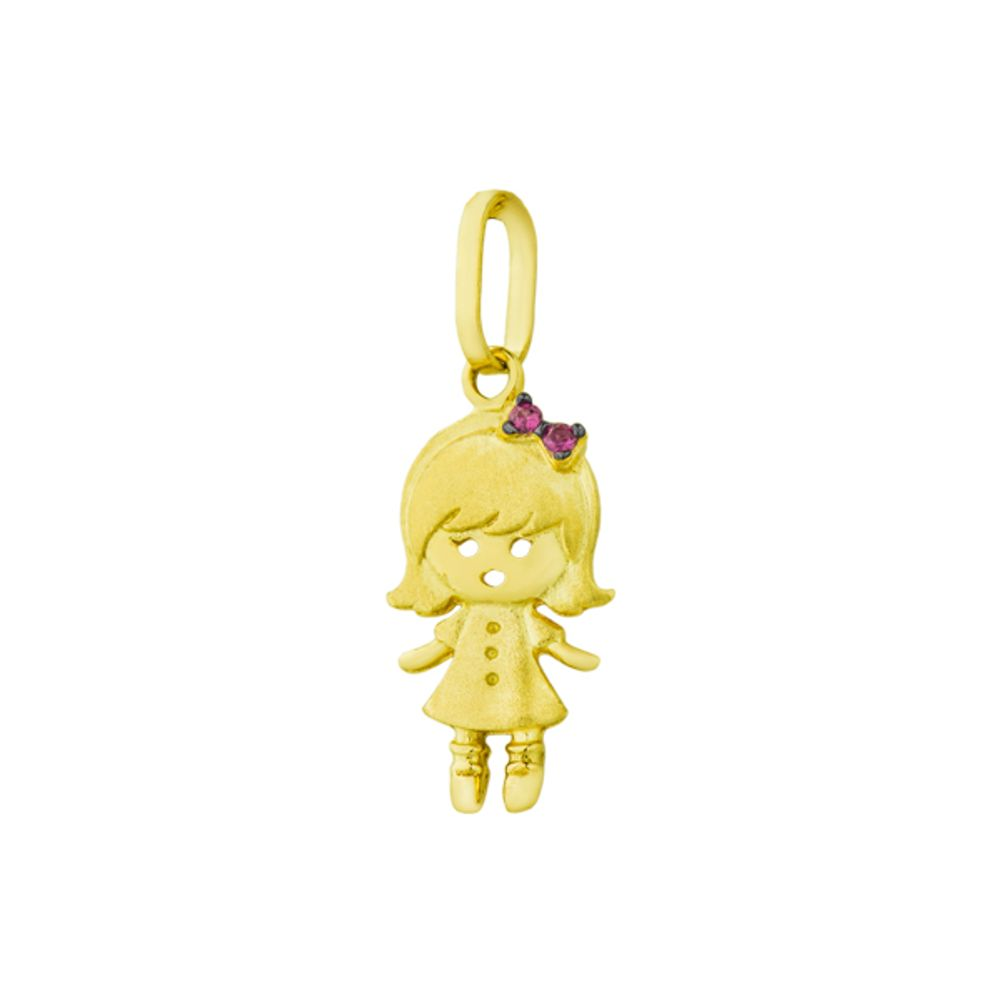 Pingente em Ouro 18k Menina com Rubi - joiasgold f6689b4ec5