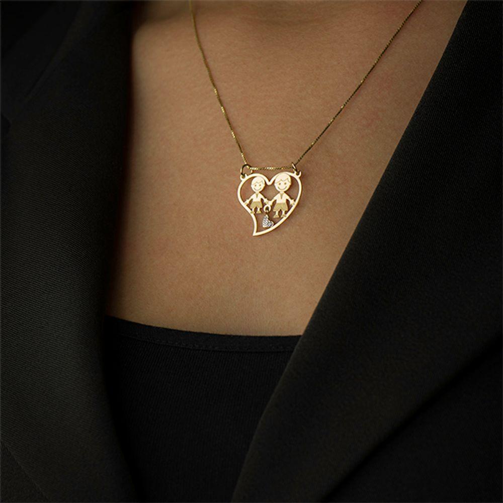 Pingente em Ouro 18k Dois Meninos Dentro do Coração - joiasgold 5880a93298