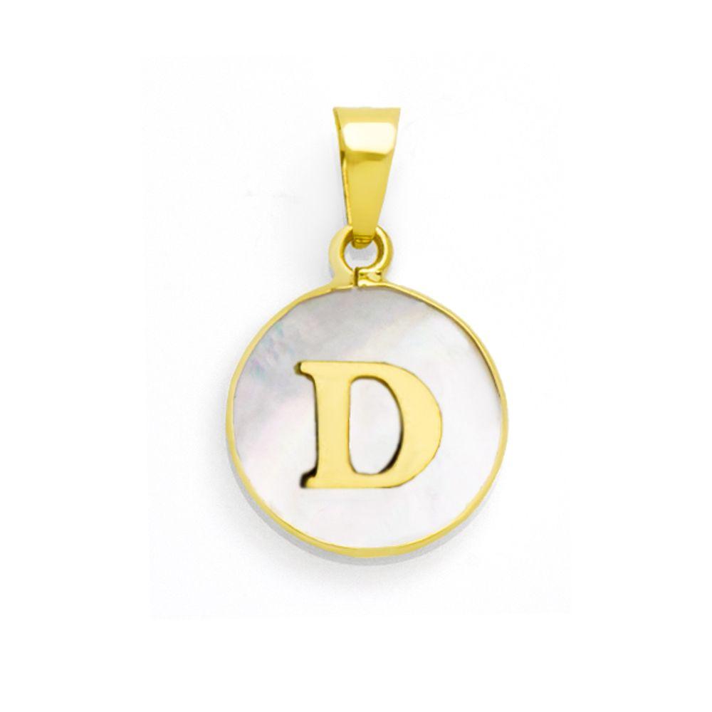 Pingente em Ouro 18k Letra D com Madrepérola - joiasgold 0ae5df6096