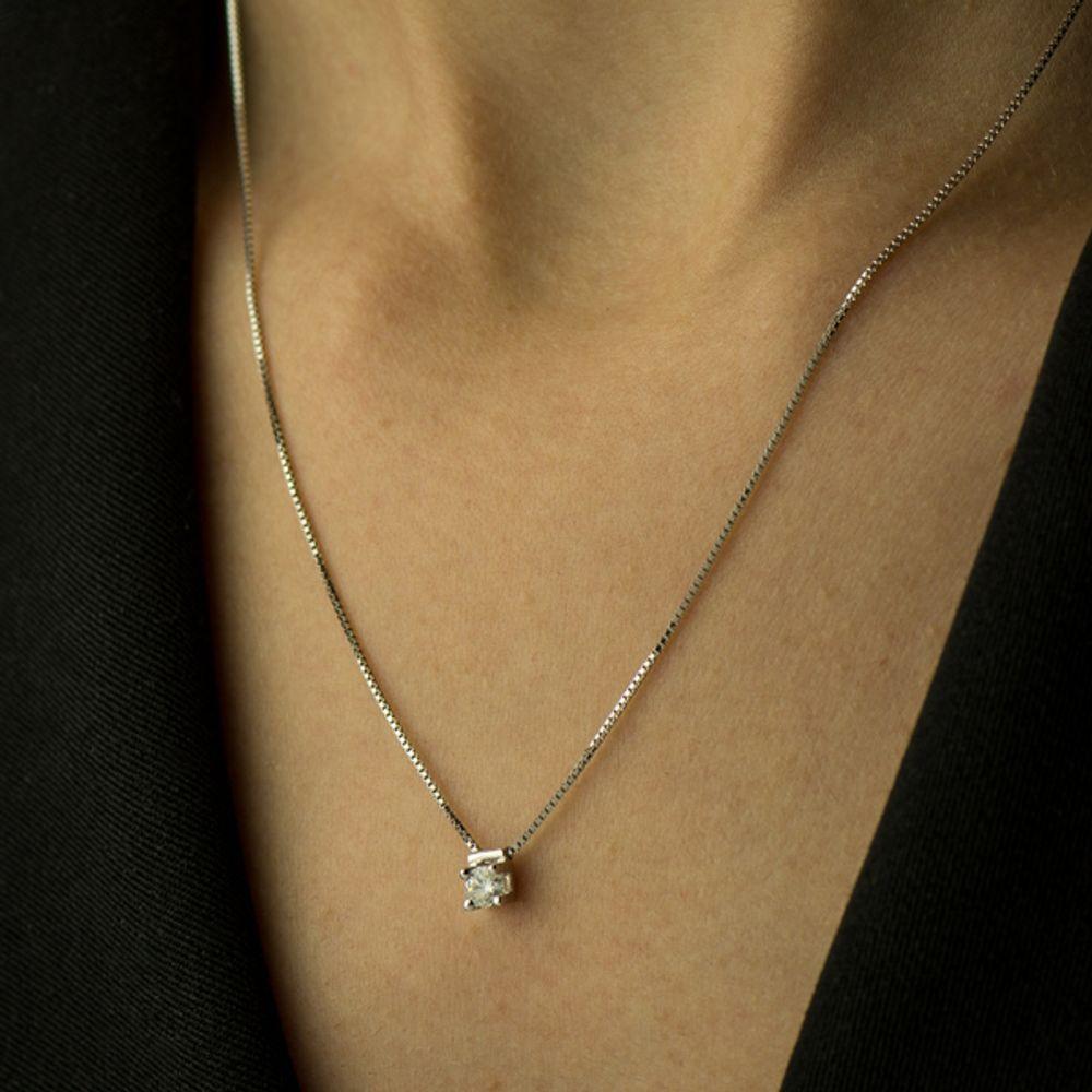 7f773bb950815 Gargantilha em Ouro Branco 18k Ponto de Luz com Diamante - joiasgold