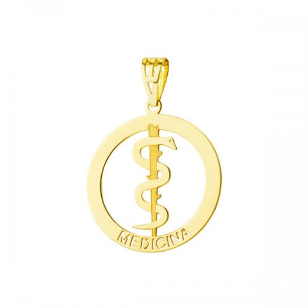 f57817a136caa Pingente em Ouro 18k de Formatura com Símbolo de Medicina - joiasgold