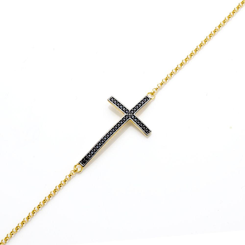 Pulseira Em Ouro 18k Cruz com Pedra Espinelio - joiasgold 35902b4255