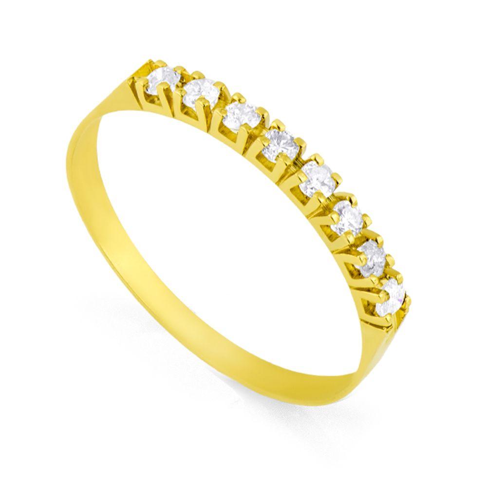 2711cc9e6dd4e Anel em Ouro 18k Diamantes Meia Aliança com 8 Brilhantes de 2 pontos ...
