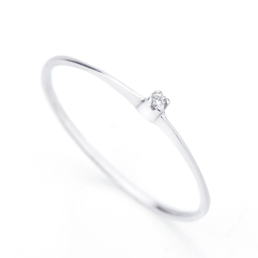 Anel em Ouro Branco 18k Um Diamante Solitário de 1,5 Pontos an31536 ... 5fc86a3b28