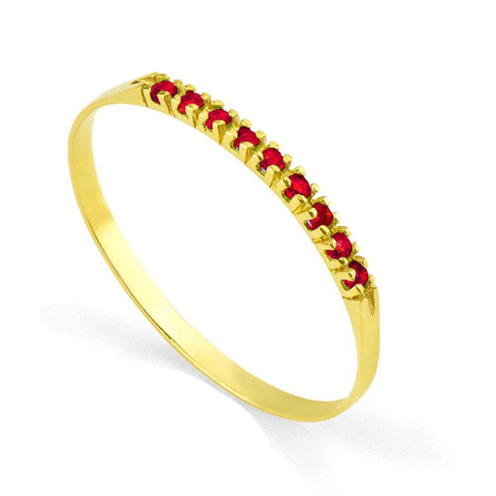 a7ffc0db57293 Anel em Ouro 18k Meia Aliança com 9 Rubis de 0,5 ponto - joiasgold