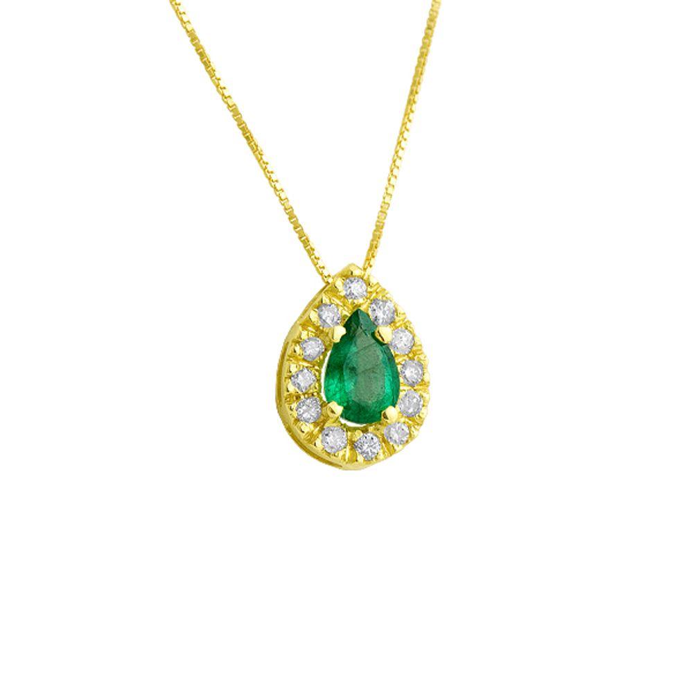 71da1305edb8d Gargantilha em Ouro 18k Gota Esmeralda Borda 12 diamantes - joiasgold