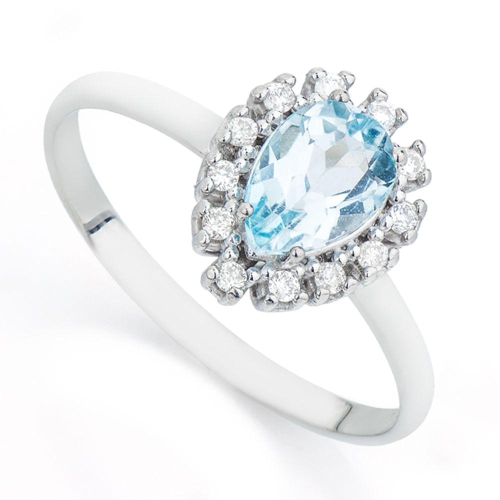 Anel em Ouro Branco 18k Topázio Azul e Diamantes an31869 KT