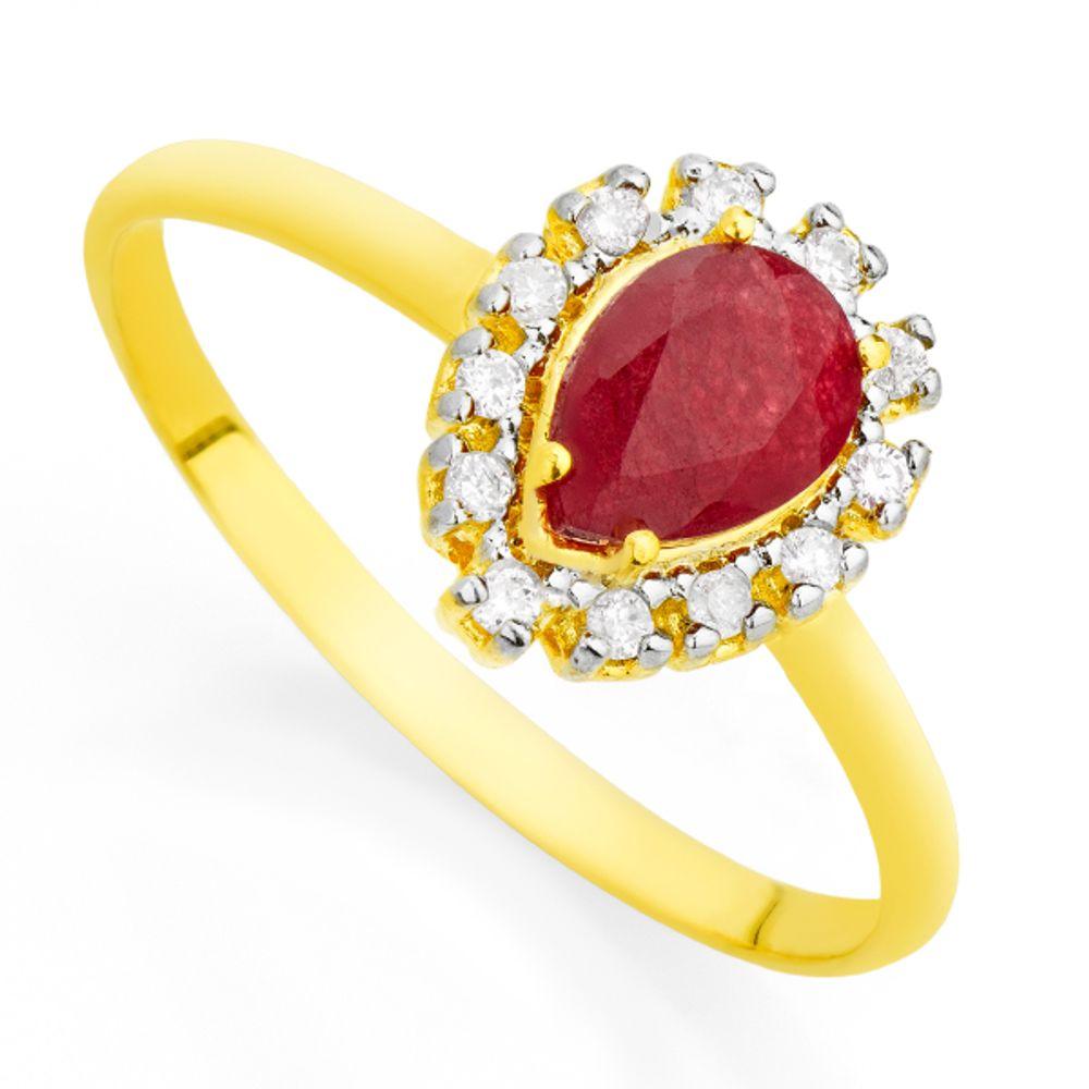 Anel em Ouro 18k Jade Vermelha e Diamantes an31872 KT