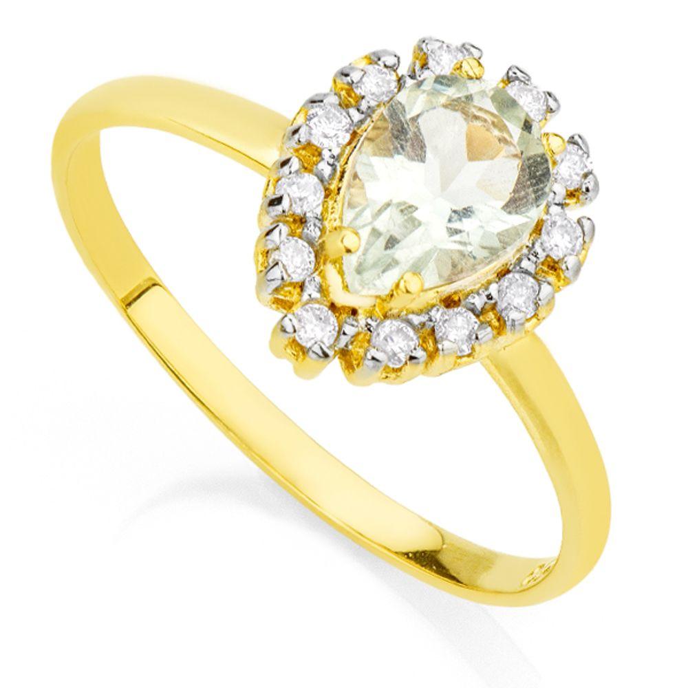Anel em Ouro 18k Praziolita e Diamantes an31873 KT