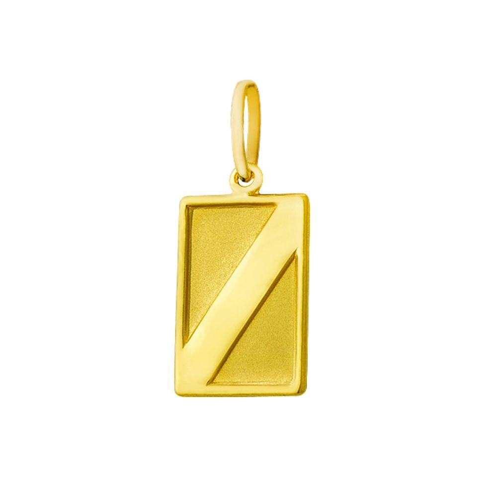 Pingente de Ouro 18k com Placa Retangular - joiasgold e9c2a98ac5