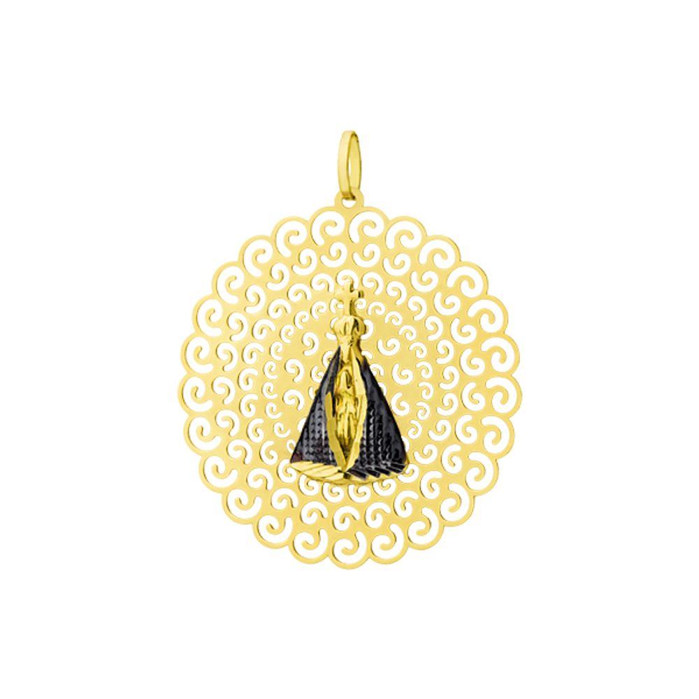361fee9b02498 Pingente em ouro 18k Nossa Senhora Aparecida Grande pi17336 - joiasgold