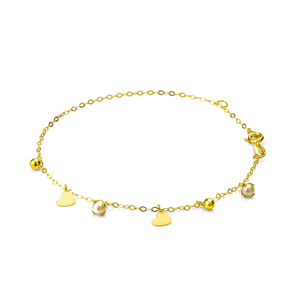 Pulseira em Ouro 18k com Berloques Bola, Coração e Pérola 18cm ... 9e281a9f3a