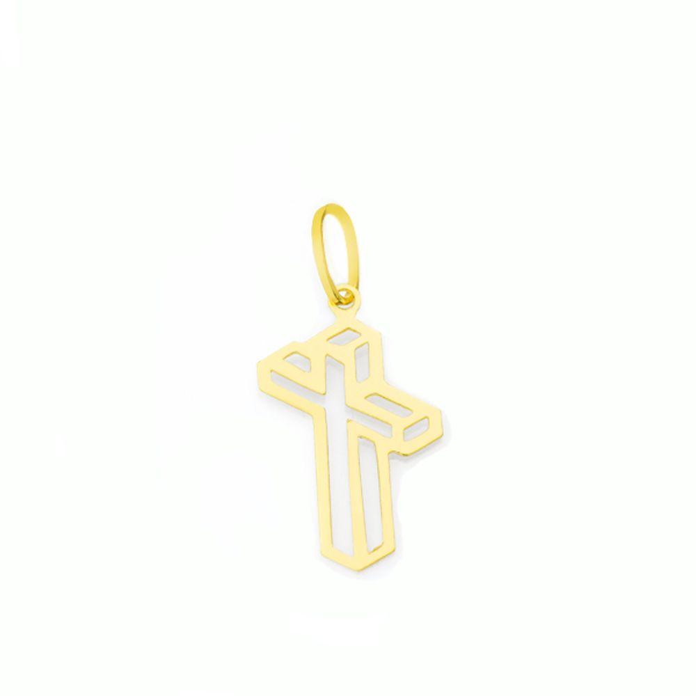 239c1417a5304 Pingente de Ouro 18k com Cruz Vazada - joiasgold