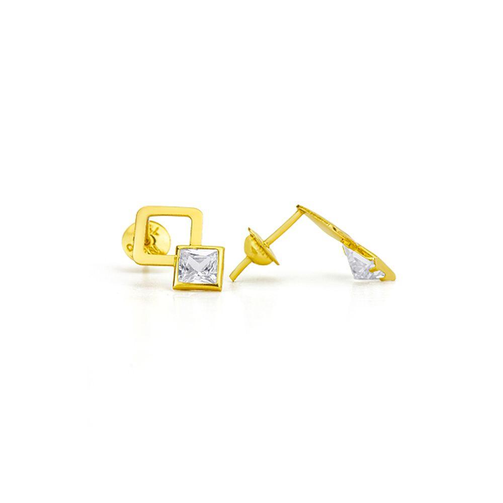 3b53003c7fa5a Brinco em Ouro 18k Modelo Quadrado Vazado com Zircônia br20594 ...