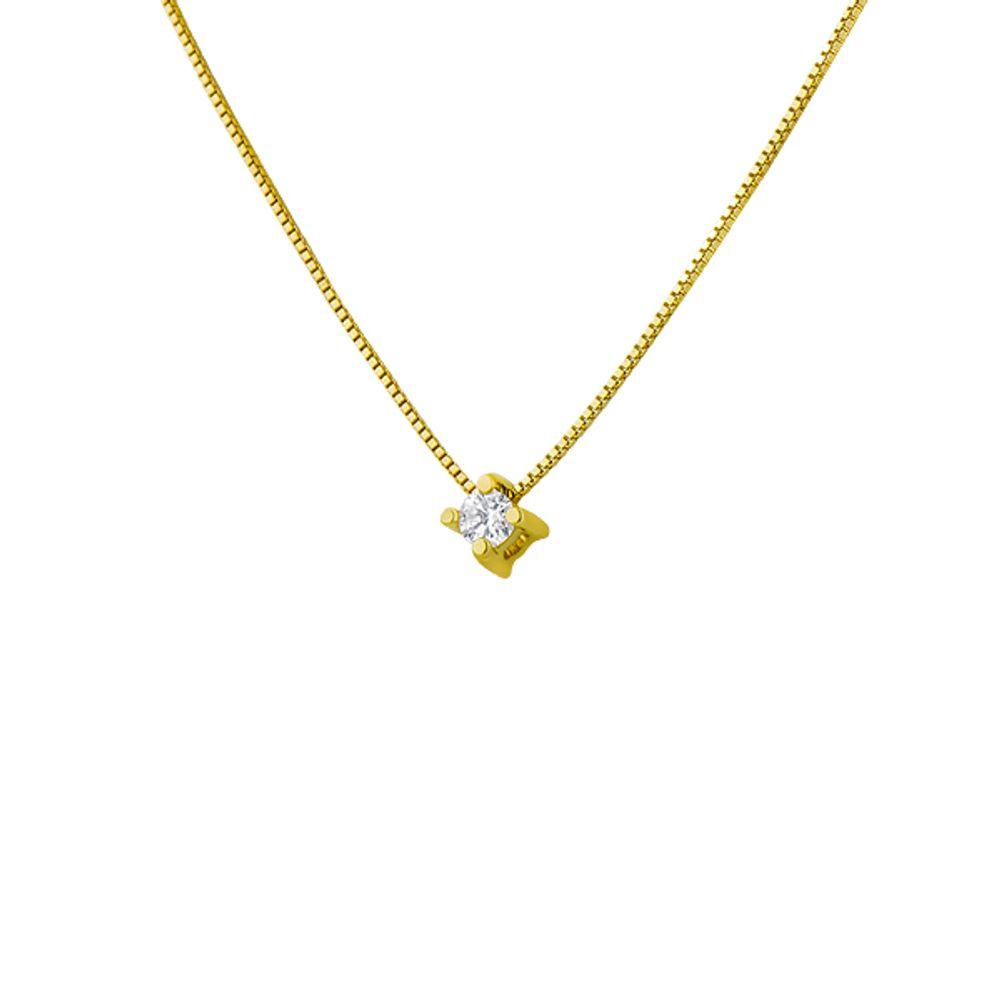 acc0e5626f401 Gargantilha em Ouro 18k Ponto de Luz Diamante de 5 pontos ga00654 ...