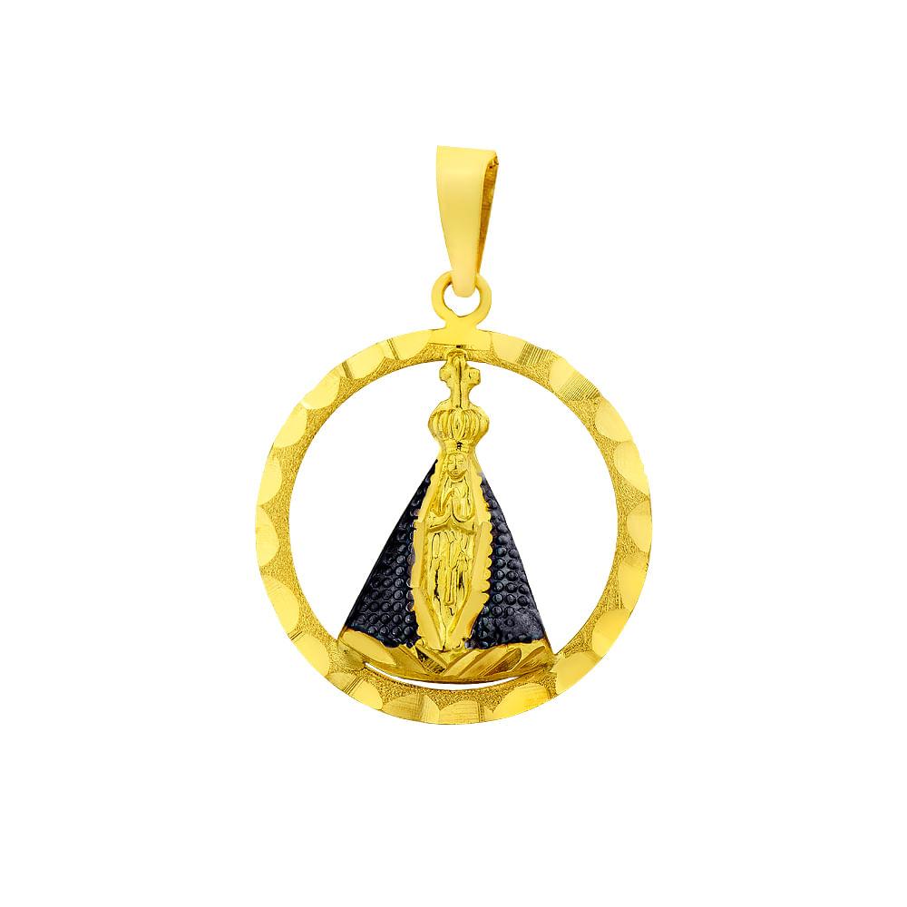 1526fa395ff0b Pingente em ouro 18k Nossa Senhora Aparecida com Ródio Negro PI17558 ...