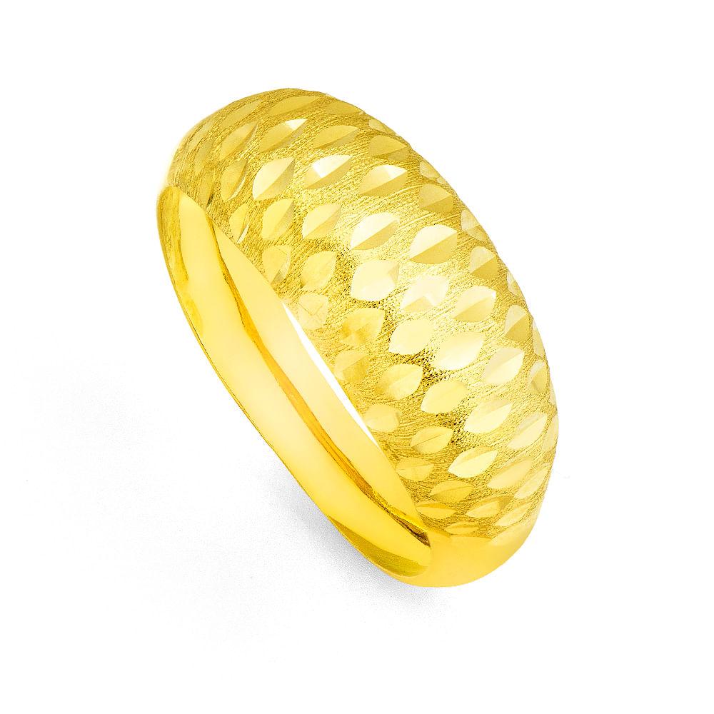 Anel em ouro 18k Diamantado e Fosco an31614 - joiasgold 7a45506f66