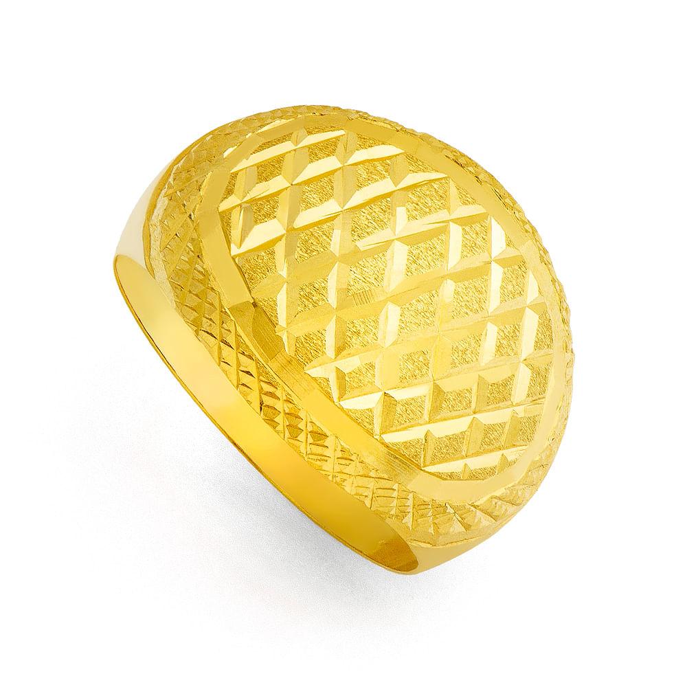 Anel em ouro 18k Quadriculado Diamantado Largo an31980 - joiasgold ac198e035e