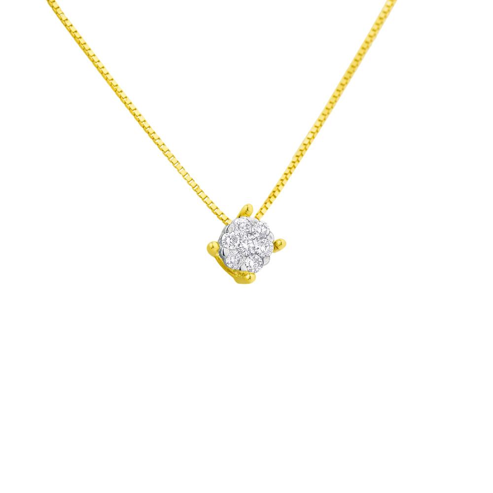 615de0049ce12 Gargantilha em Ouro 18k Ponto de Luz Diamante de 5 pontos ga00657 ...