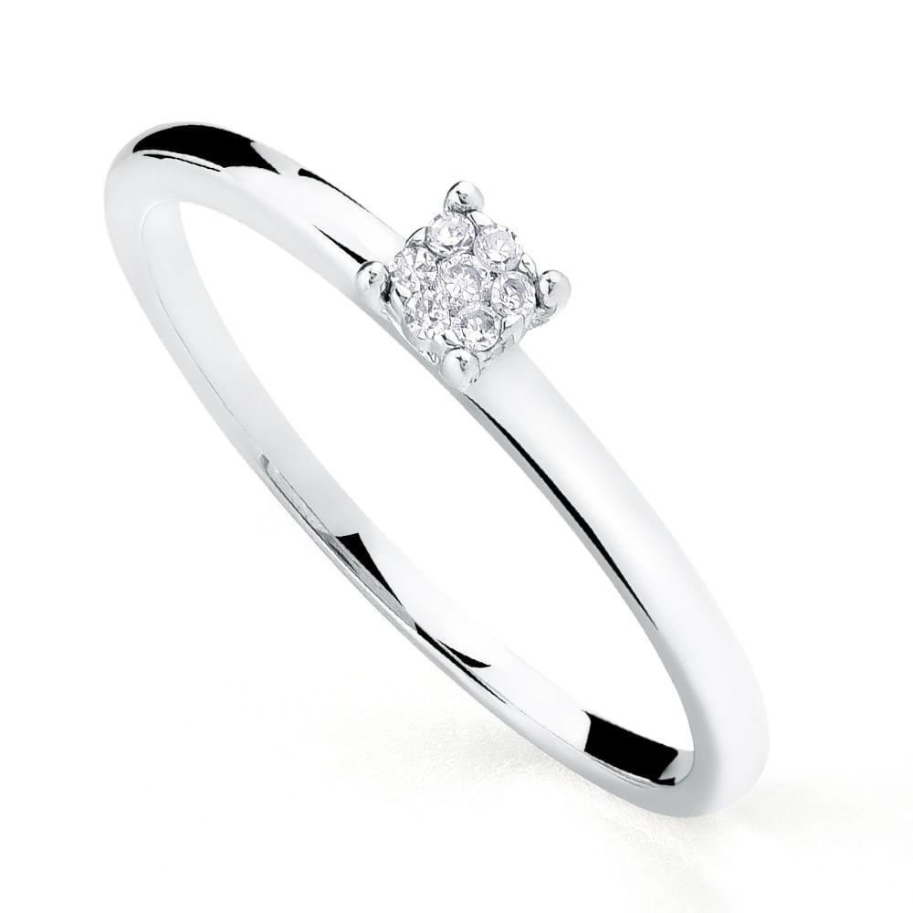 9fafaa40fa3 Anel em Ouro Branco 18k Chuveiro com Diamantes an04806 - joiasgold