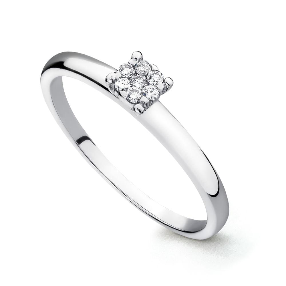 7698ac847b761 Anel em Ouro Branco 18k Chuveiro com Diamantes an25003 - joiasgold
