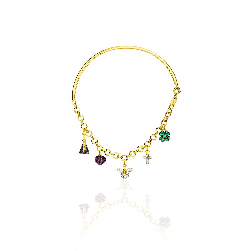 d9b5b695e2f Pulseira em Ouro 18k Bracelete com Berloques pu03073 - joiasgold