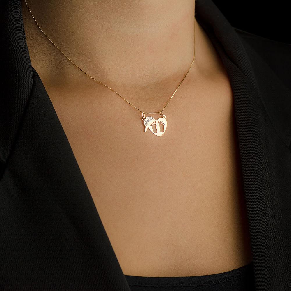 Pingente em Ouro 18k Coração com Pezinhos, Boné com Diamantes ... cc7b09965e
