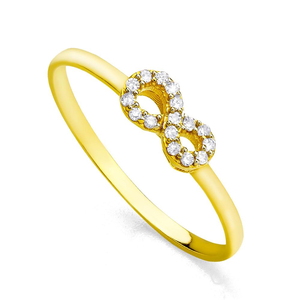 b9b87a56a7afe Anel em Ouro 18k Infinito com Diamantes - joiasgold