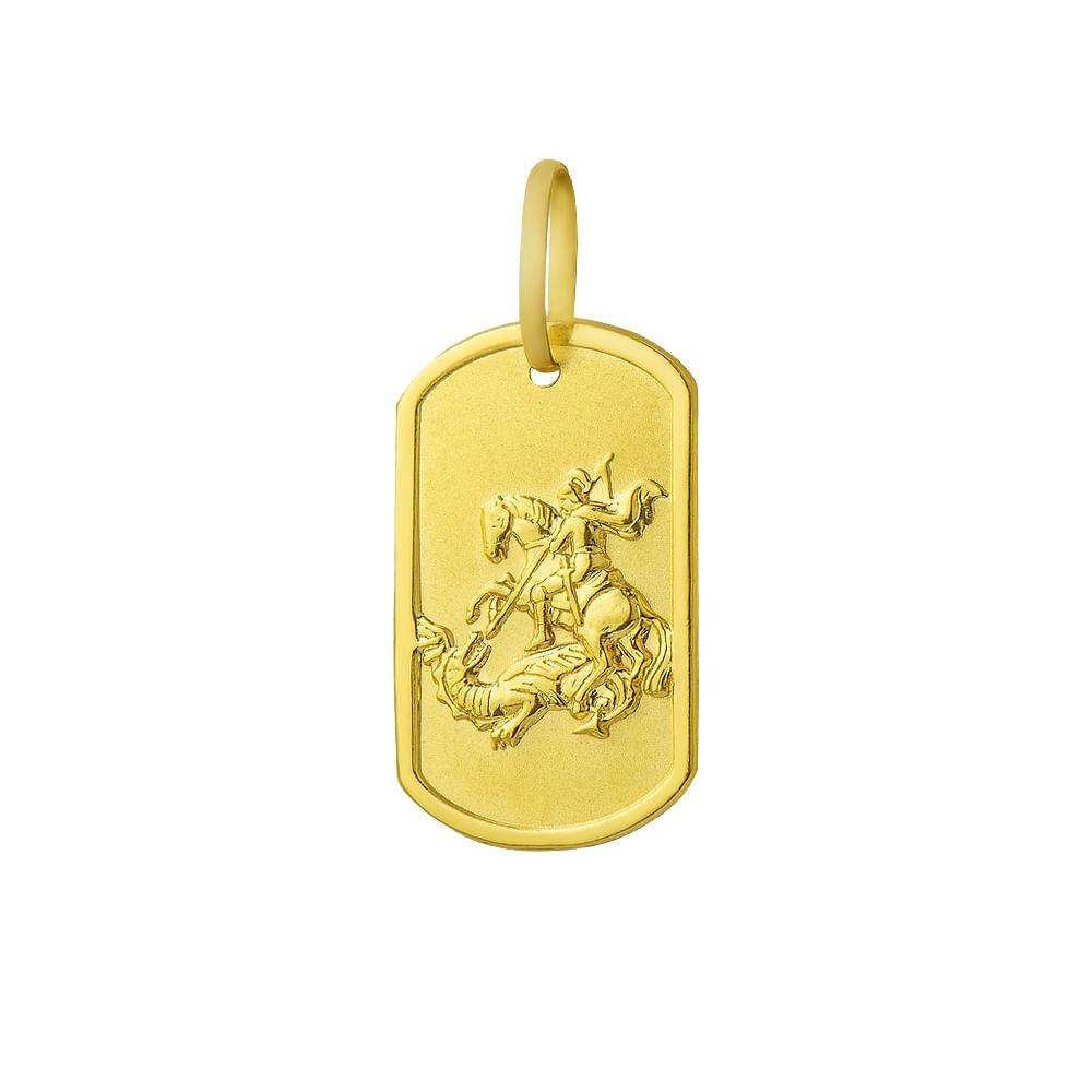 Pingente em Ouro 18k Sao Jorge Retangular pi16342 - joiasgold cbb6d81c13