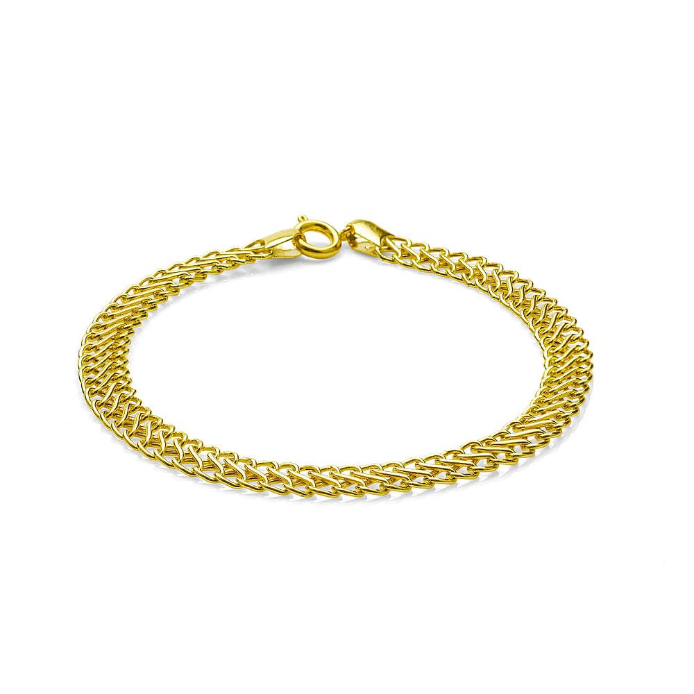pulseira em ouro 18k lacraia com 19cm pu03087 joiasgold novo