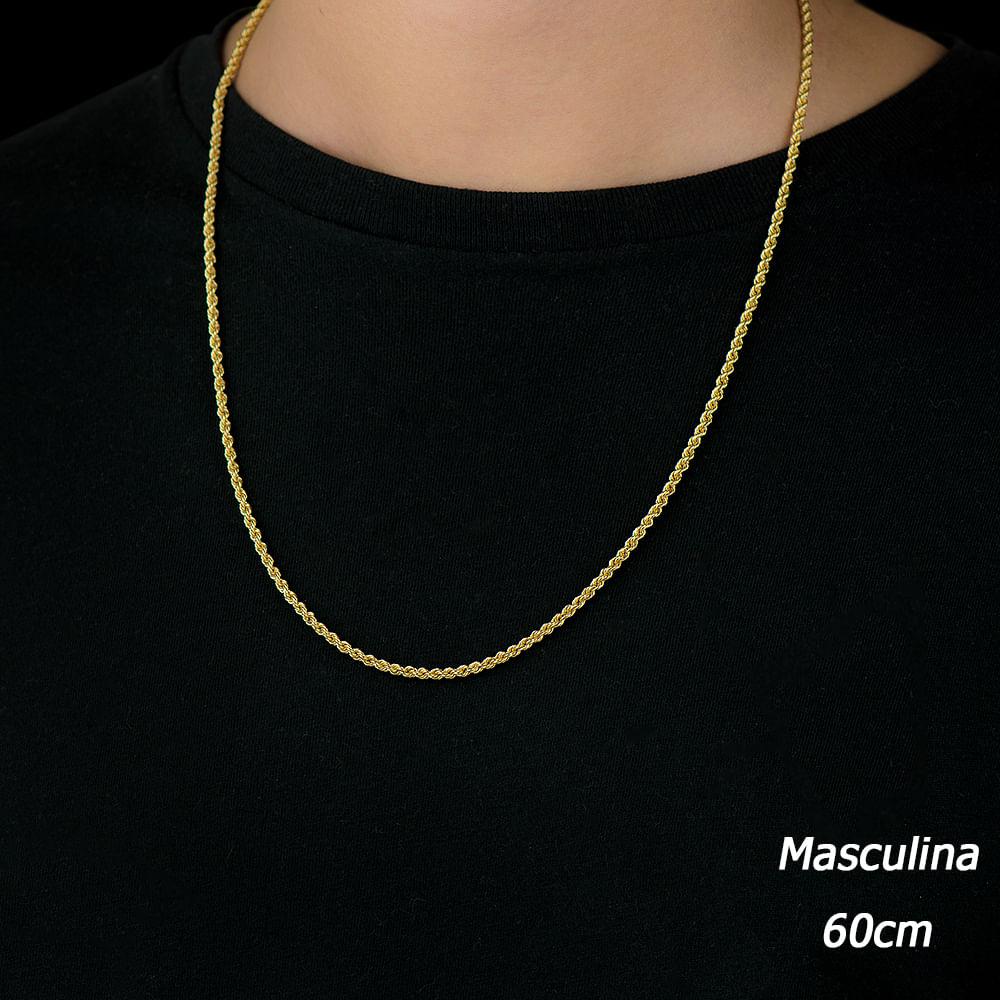 Corrente em Ouro 18k Cordão Baiano de 2,6mm com 60cm CO02036 - joiasgold 14f9757893