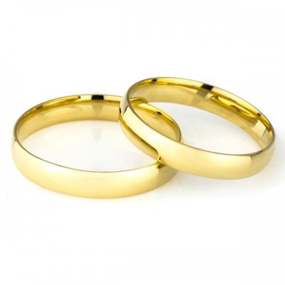 Par De Aliança De Casamento Em Ouro 18k 35mm Semi Anatômica Ta35sa