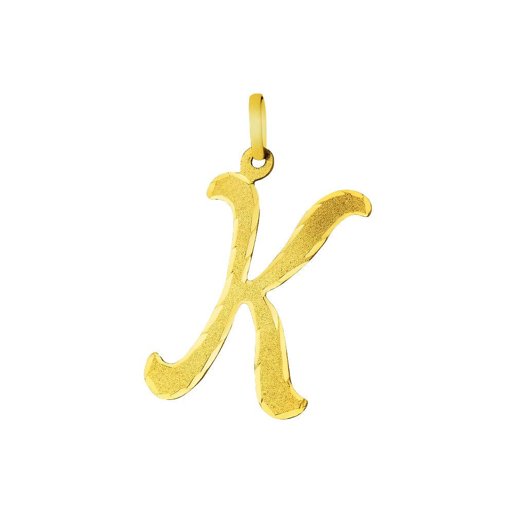 Pingente em Ouro 18k Letra K Grande pi01869 - joiasgold 1600ed4fb7
