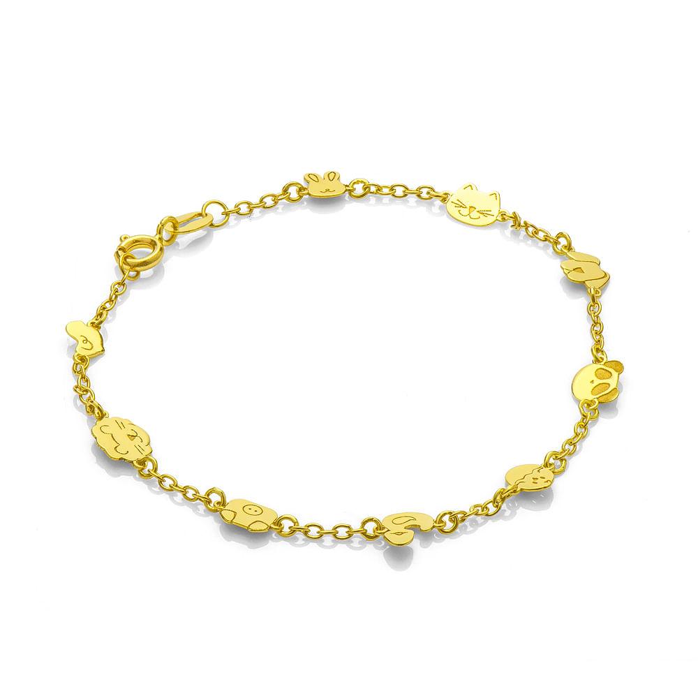 21d39d92462 Pulseira em Ouro 18k Infantil Berloques Bichinhos 15cm pu03252 ...