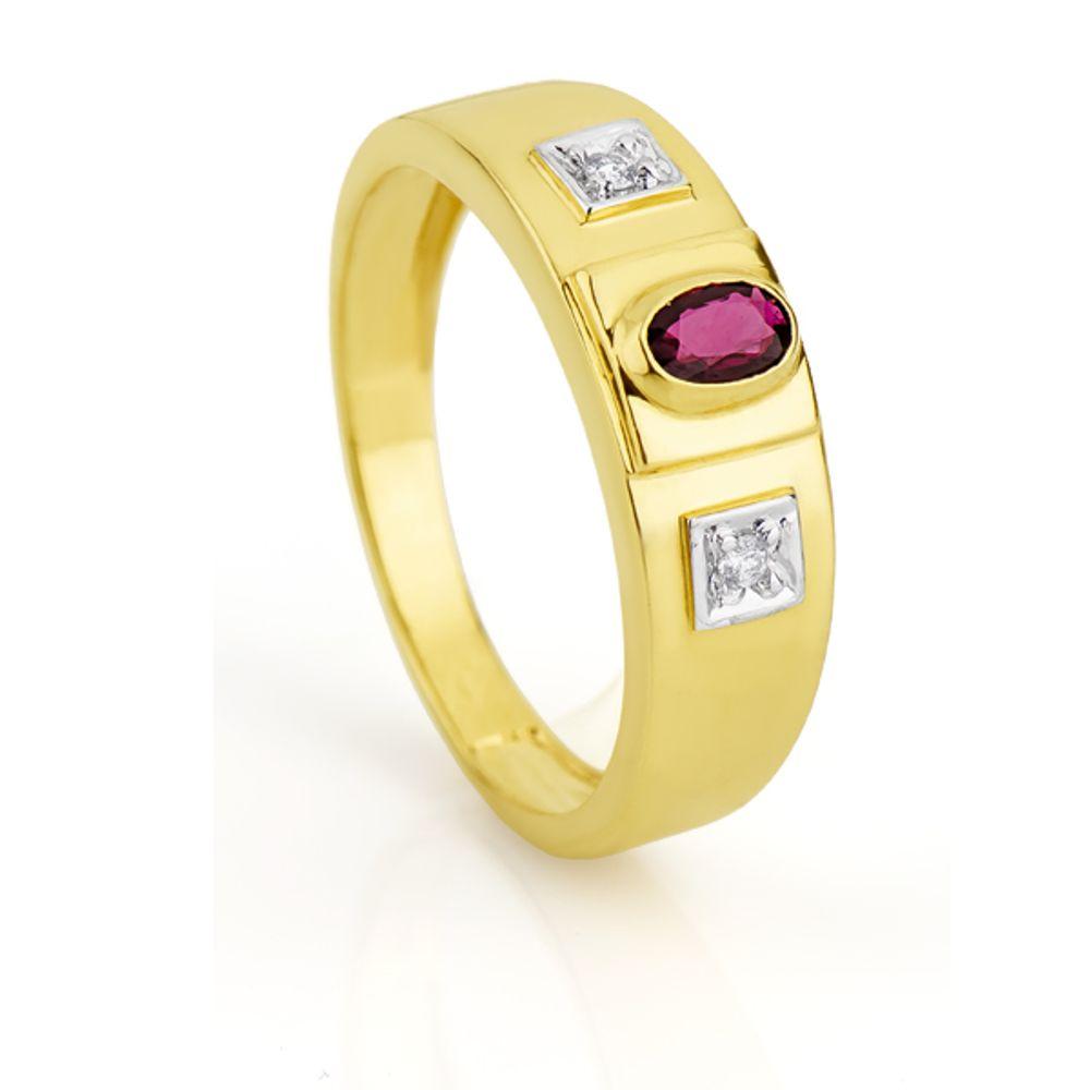 2bd67109053 Anel de Formatura em Ouro 18k Rubi com Diamantes an30134 - joiasgold