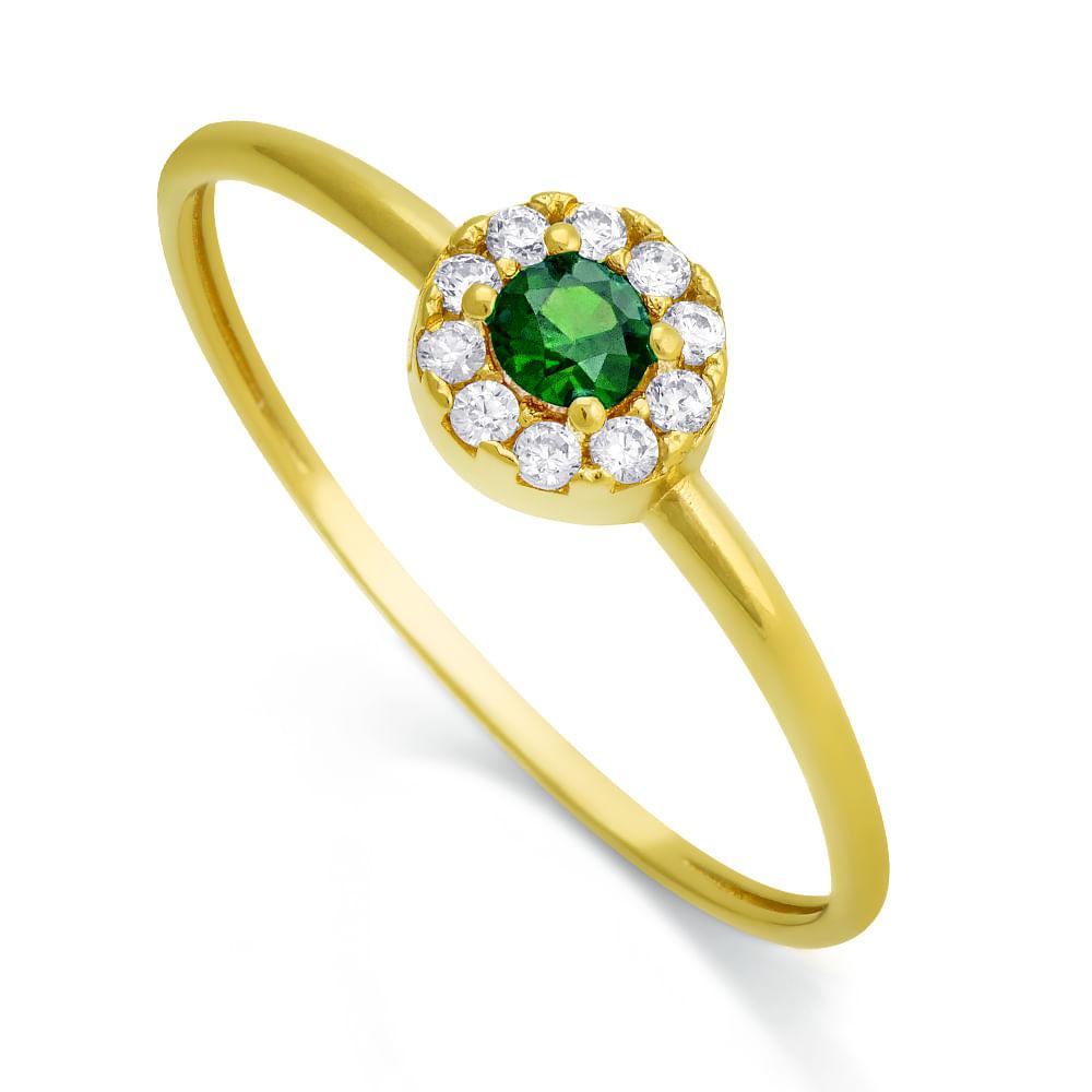 Anel em Ouro 18k com Zircônia Verde e Branca an32323 - joiasgold e88f49259a