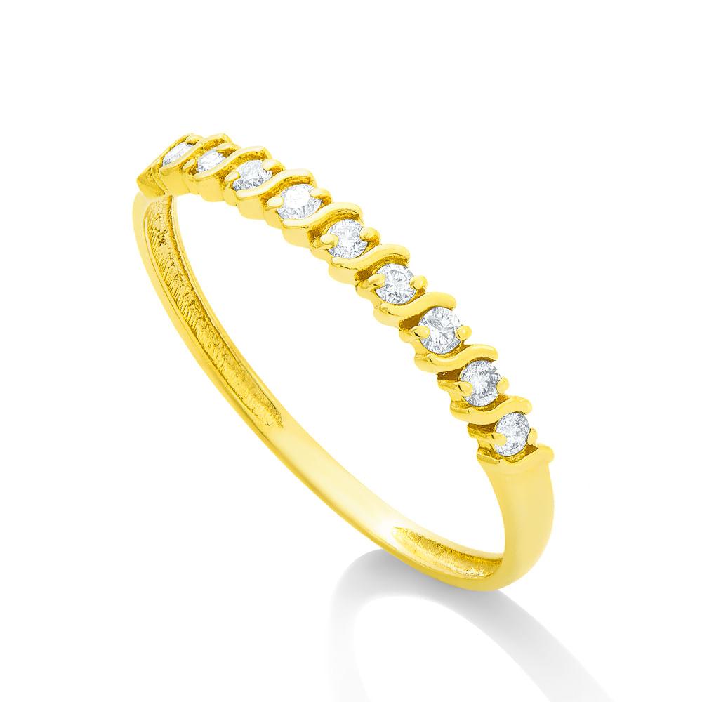 Anel em Ouro 18k Meia Aliança 9 Diamantes de 1,8 pontos cada an32291 ... 6a0314d46a