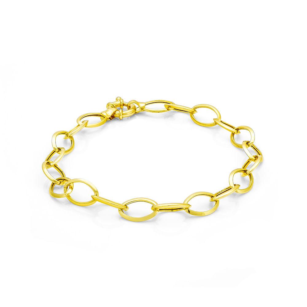 86082088f3688 Pulseira em Ouro 18k Elos Ovais com 19cm pu01237 - joiasgold