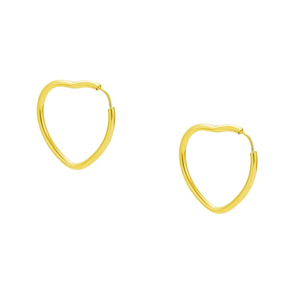 Brinco em Ouro 18k Argola Coração Média br20921 - joiasgold f0c40e1301