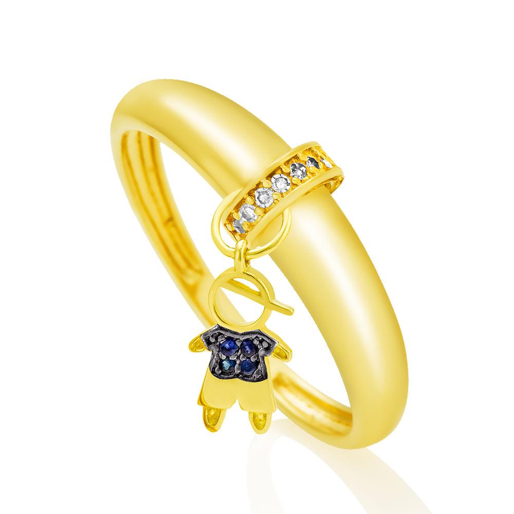 Anel em Ouro 18k Menino Pendurado Diamante e Safira an31054 - joiasgold cc8ae5456a