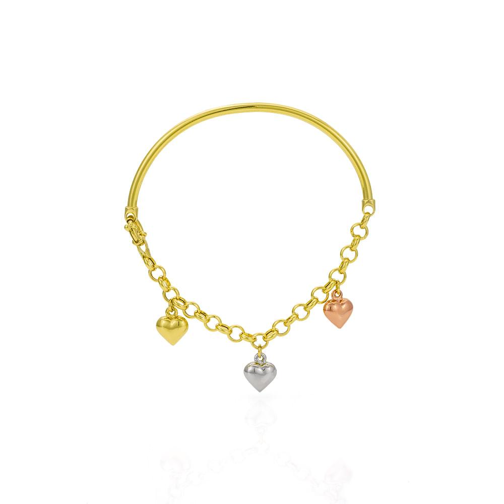 eaf075ae27378 Pulseira em Ouro 18k Bracelete Corações Três Tons de Ouro pu03549 ...