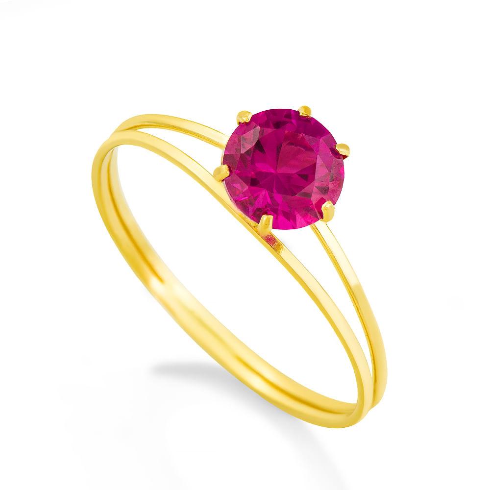 7340ec43e55a2 Anel em Ouro 18k Cálice de Zircônia Vermelha an08168 - joiasgold