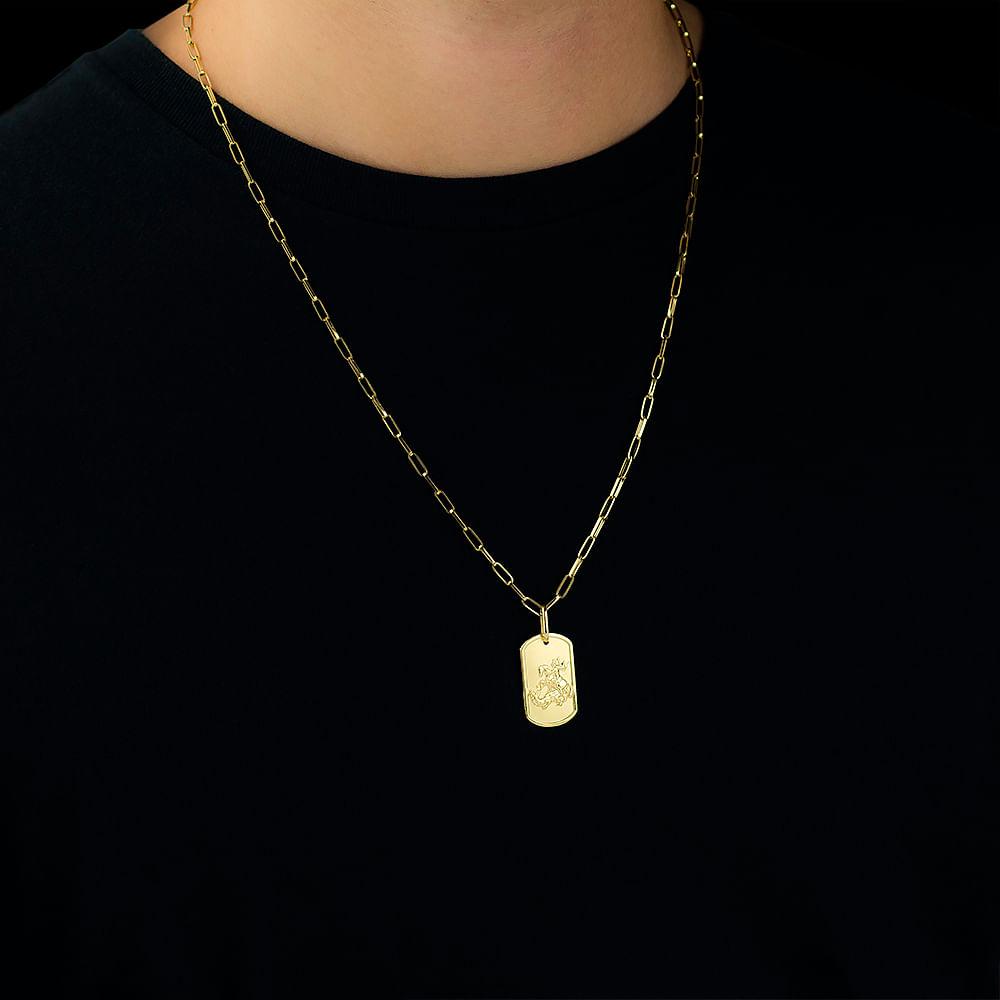 Pingente em Ouro 18k Sao Jorge Retangular pi16342 - joiasgold 2a80f26d23e29