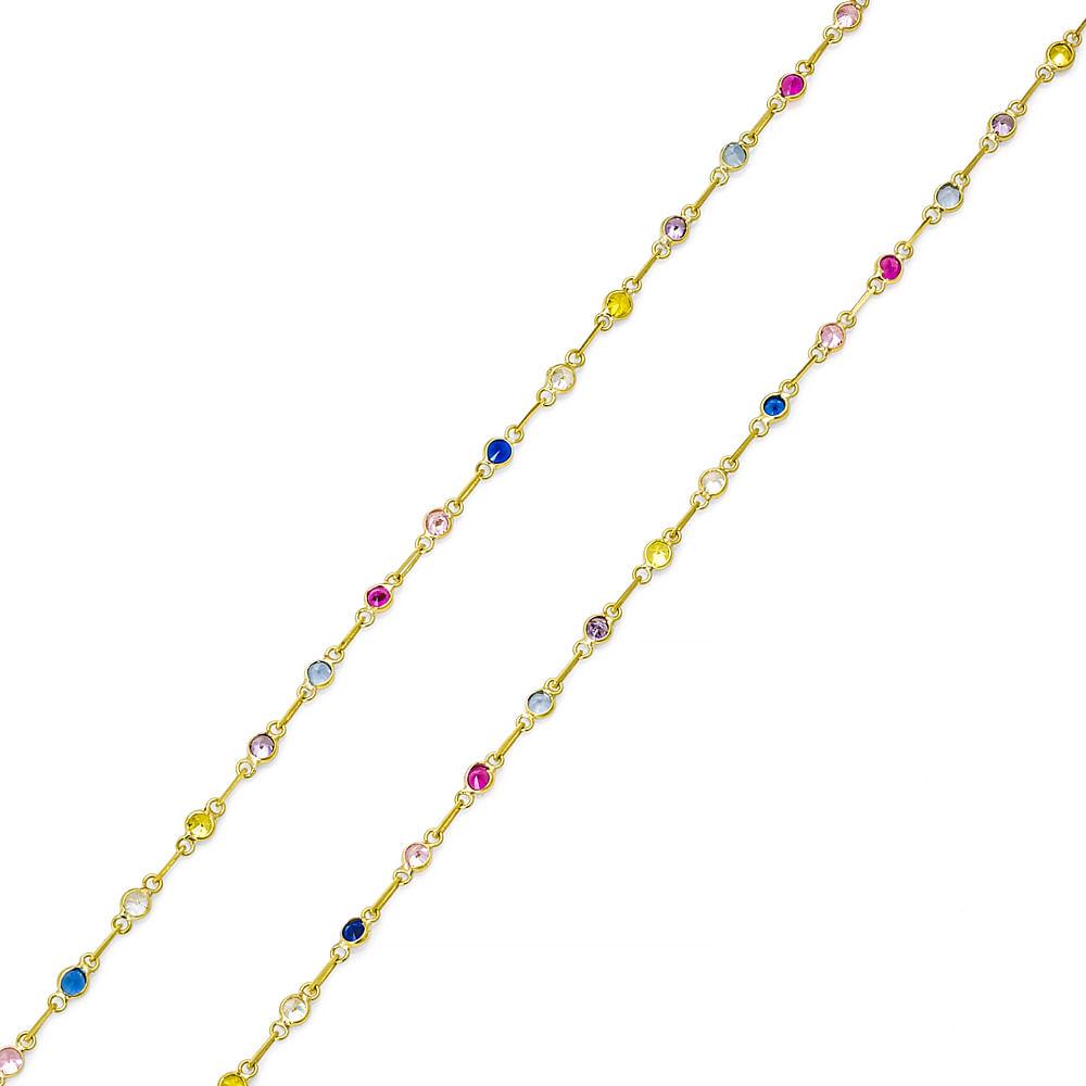 bf6bbb684851b Gargantilha em Ouro 18k Zircônias Coloridas Pequena com 60cm ga00528 ...