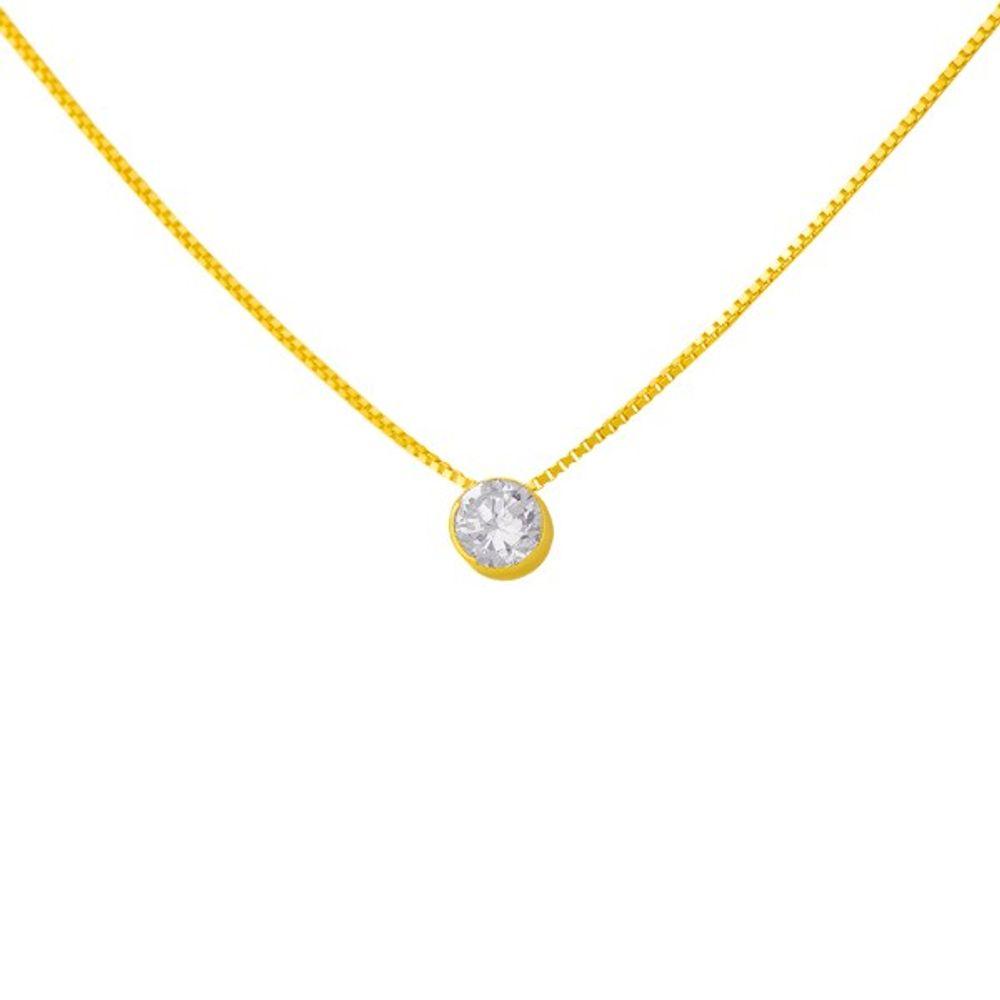 b2ffeacdff9cf Gargantilha em Ouro 18k Ponto de Luz com Zircônia ga02465 - joiasgold