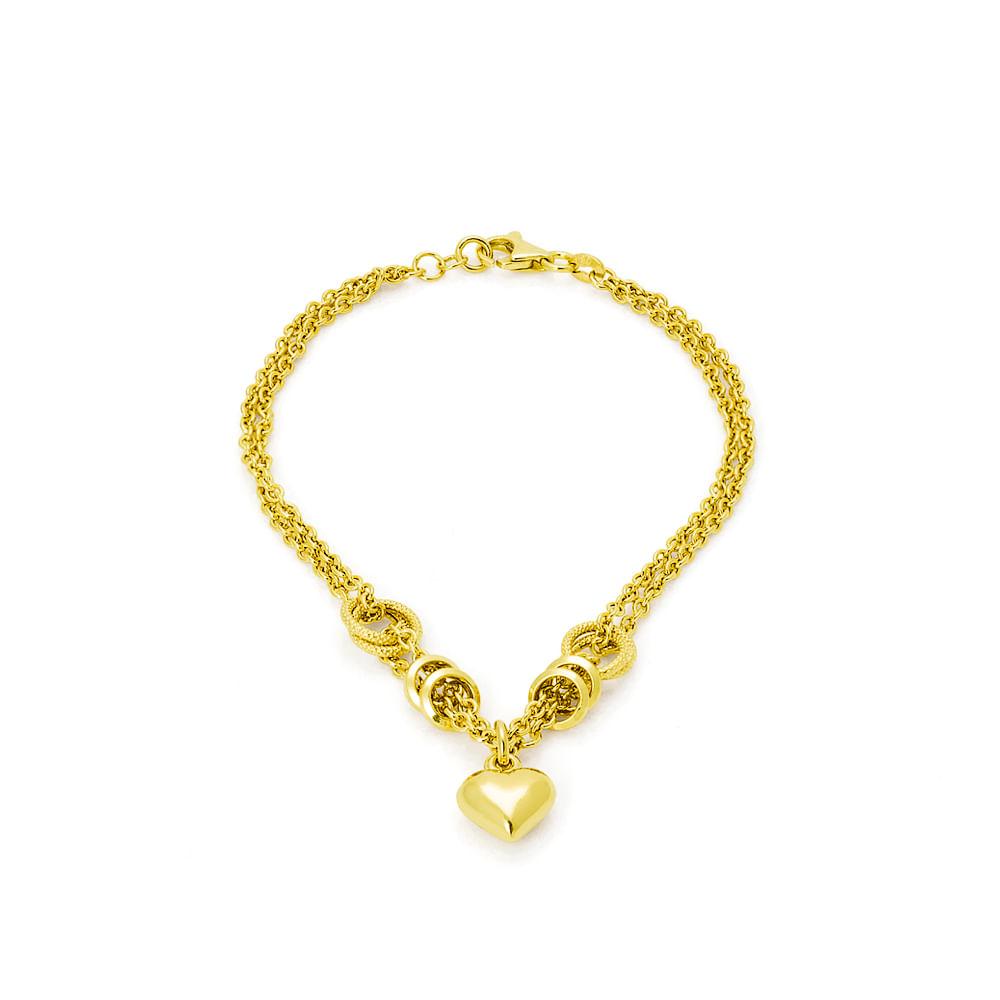 f763a99384f Pulseira em Ouro 18k Elos Ovais com Coração Pendurado de 19cm ...